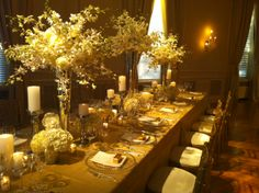 elegant wedding linens | Gold Tones and Metallics were IT for the fall!