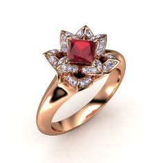 The Princess-Cut Lotus Ring customized in ruby, tanzanite and rose gold