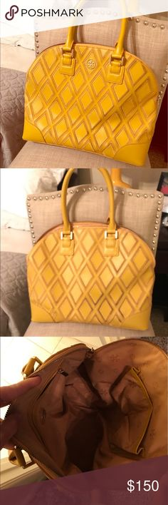 Tory Burch Robinson patchwork tote Mustard yellow leather and suede patchwork tote. Some discoloration on the suede, great condition though. Tory Burch Bags Totes