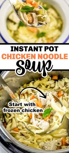 This is our most popular recipe! A true fan favorite! And it all starts with frozen chicken so it& perfect for busy working moms. It& delicious and full of flavor. It& super easy in the Instant Pot and is the perfect meal on a cold day. Instapot Chicken Soup, Instant Pot Chicken Soup Recipe, Frozen Chicken Recipes, Best Instant Pot Recipe, Instant Pot Dinner Recipes, Chicken Noodle Soup, Chicken Soup Recipes, Crockpot Frozen Chicken, Fried Chicken