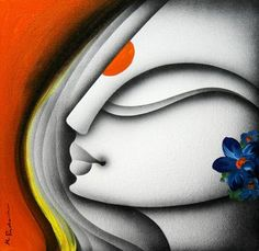 "Buy art online at IndianArtCollectors.com!  ""Radha"" by Prakash K Mixed Media On Canvas, Size(inches): 12X12 Price: INR 6,000 / $108  See more artworks by Prakash K at: http://www.indianartcollectors.com/artist/PrakashK"