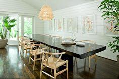 white shiplap dining room, benjamin moore simply white, wishbone chairs, dark wood floors, mid-century modern interior