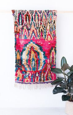 "Vintage Moroccan Boucherouite Ourika Rug, ""The Adalyn,"" Berber Rug, Wall Hanging, Small Rug, Pink Rug, Colorful Rug, Bohemian, Boho Rug"