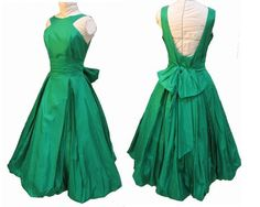 Items similar to Breathtaking Emerald Green Vintage Will Steinman Designer Taffeta Ball Gown Party Dress M on Etsy Emerald Dresses, 50s Dresses, Vintage Dresses, Vintage Outfits, Vintage Fashion, Summer Dresses, Vintage Clothing, Formal Dresses, Taffeta Dress