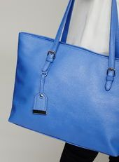Buckle Shopper Bag, Blue