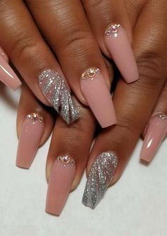 """If you're unfamiliar with nail trends and you hear the words """"coffin nails,"""" what comes to mind? It's not nails with coffins drawn on them. Although, that would be a cute look for Halloween. It's long nails with a square tip, and the look has. Fabulous Nails, Gorgeous Nails, Stylish Nails, Trendy Nails, Swag Nails, Fun Nails, Nagel Gel, Acrylic Nail Designs, Acrylic Nails"""