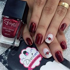 Cute And Lovely Heart Shape Nail Art Design For You; Valentines Nail; Red nail art designs; Romantic heart shape nails; acrylic nails;Heart Shape Nails; Cute Nails; Lovely Nails;