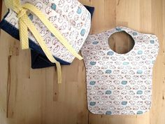 Bib and drawstring bag set sheeps print and teal accent. Large bib for babies and toddlers.