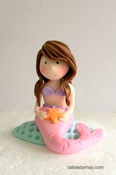 Mermaid Fondant Cake Topper by CakesbyMaylene on Etsy https://www.etsy.com/au/listing/507226235/mermaid-fondant-cake-topper