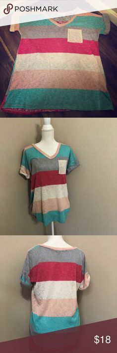 Flamingo Urban striped T-shirt Cute striped loose fitting T-shirt. New without tags. Never worn. Tops Tees - Short Sleeve
