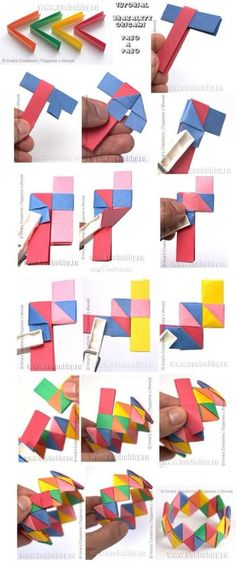 Como hacer un Brazalete o Pulsera de Origami. Tutorial --always wanted to know how make after watching 28 days Diy Origami, Origami Simple, Origami Modular, Origami And Kirigami, Paper Crafts Origami, Origami Tutorial, Origami Ideas, Origami Crown, Oragami