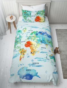 Cotton Rich World Map Bedding Set | M&S Single Bedding Sets, Wicker Hamper, Sofa Styling, Sofa Shop, Childrens Beds, New Beds, Wine Gifts, Furniture Sale, Pillow Set