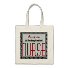 Mod Square NURSE Add Specialty and Custom Name V5 Tote Bag To see customizable totes visit http://www.zazzle.com/jaclinart/gifts?cg=196427799858145824  #monogram #tote #wedding #jaclinart #bridesmaid
