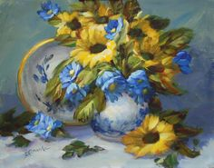 Sue Cervenka: Sunflowers with Blue and White
