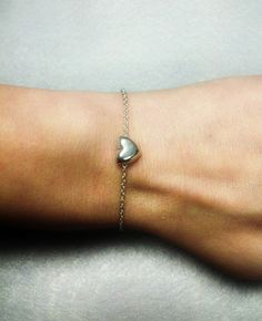 Dainty Silver Heart Chain Bracelet Different Sizes Small by OneSEC, $7.50