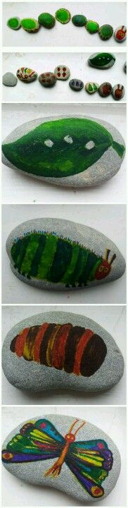 The very hungry caterpiller storytelling stones. FREE project - all you need are pebbles and pens. Www.makiedo.com