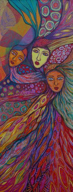 Acrylique, encre et pastel gras sur toile 30/100cm. Artiste Patricia Mouton.