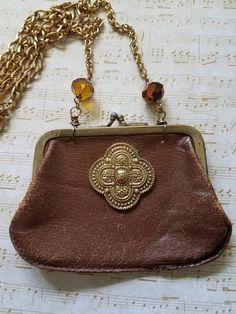 Upcycled leather coin purse necklace