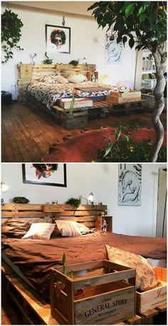 magnifique lit en palette, situé au milieu d'ún décor très artistique, tête de lit en palette