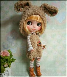 yumiko♪Blythe Outfitモカウサギちゃんサロペットセット♪_画像2