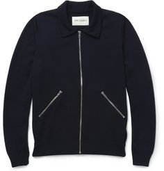 OUR LEGACY  ZIPPED KNITTED MERINO WOOL CARDIGAN $280