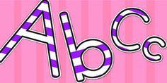 Stripey Purple Display Lettering - lettering, letters, display