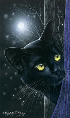 Black Cat Art - 'Inspired by cats' - Russian artist Irina Garmashova (Garmashova-Cawton) - Colors: Black and Blue, touch of yellow Crazy Cat Lady, Crazy Cats, I Love Cats, Cool Cats, Black Cat Art, Black Cats, Black Cat Painting, Gatos Cats, Photo Chat