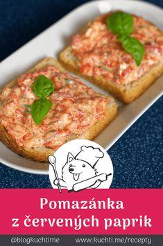 Pomazánka z pečených červených paprik, které neodolají ani muži. Pomazánka z pečených červených paprik se na první pohled tváří nevinně a nepříliš atraktivně. Ale když ji ochutnáte, zjistíte, že tichá voda břehy mele. | @blogkuchtime  | #recepty #jidlo #inspirace #vareni #kucharka #foodblog Salmon Burgers, Ethnic Recipes, Food, Red Peppers, Essen, Meals, Yemek, Eten