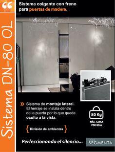 Sistema DN80 OL. Sistema colgante con freno para puertas de madera.