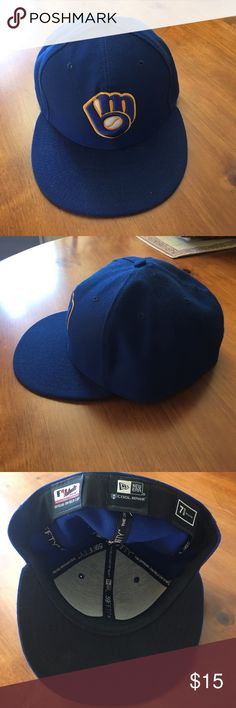 MLB Hat Milwaukee Brewers Gently used fitted hat.  Make an offer or ask questions.  15% off if you bundle 2 items. New Era Accessories Hats