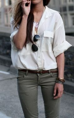 Sheer button up or any button up tucked into it with a belt and sunglasses tucked into shirt and necklace and arm candy  with ring! #Ideas!
