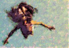 FLOATING, from the Swimmers series, digital print onto aluminum, acrylic over painting. 14x19.5 inches, 2007  Artist: timothy burns