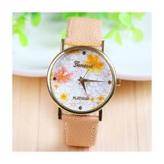 Fashion yellow flowers leather girl watch MyFriendShop (8.65 CHF) ❤ liked on Polyvore featuring jewelry, watches, leather jewelry, yellow watches, flower watches, leather wrist watch and flower jewelry