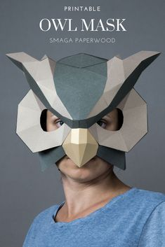 Owl mask, Bird mask papercraft Masquerade mask for your owl costume. Unique Halloween Costumes, Halloween Masks, Costume Ideas, Owl Mask, Bird Masks, Paper Face Mask, Cardboard Mask, Printable Masks, Paper Owls