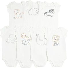 Stella Mccartney Kids Kids-girls Set Of 7 Organic Cotton Bodysuits (1460 MAD) ❤ liked on Polyvore featuring white