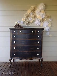 Distressed black wash with white contrast knobs