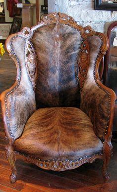 Hair-on-Hide wing back chair. Brindle cow hide.