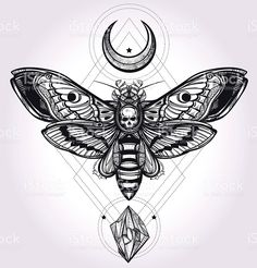 Deaths head hawk moth with moons and stones. royalty-free stock vector art