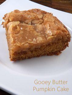 Gooey Butter Pumpkin Cake --some hard to find ingredients, but looks worth it!  1 15.25 oz. box of yellow cake mix ½ c. butter, melted 2 eggs 1 3.4 oz. box of pumpkin spice instant pudding ½ tsp. vanilla 8 oz. pumpkin spice cream cheese 2 eggs ½ tsp. pumpkin pie spice 4 c. powdered sugar