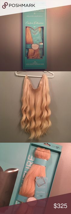 """HALOCOUTURE 16"""" Hair Extensions Halocouture Hair Extensions. 16"""" platinum blonde. 100% Remy Human Hair. Only worn a handful of times. In great condition, like new. Can be colored, curled, straightened, just like your real hair! Adjustable halo to fit your head. Extra """"halo"""" included. Comb included. Selling because my hair has grown so much I want to get longer ones! Make an offer. halocouture Accessories Hair Accessories"""