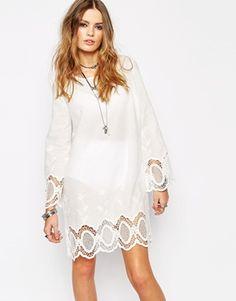 Enlarge Glamorous Swing Dress with Crochet Sleeve