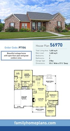 Cottage House Plan 56970 | Total Living Area: 1600 SQ FT, 3 bedrooms and 2 bathrooms. Beautiful cottage home  with open floor plan and great outdoor area. #cottagehome