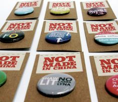 Store Update: Not Made In China's new button packaging Craft Show Displays, Display Ideas, Button Maker, Craft Markets, Button Badge, Product Packaging, Packaging Ideas, Art Festival, Craft Fairs
