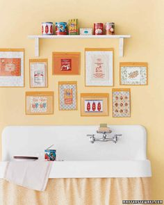 "Kitchen Photo Collage DIY Project | Martha Stewart Living — Pantry items become pop art when displayed in clear vinyl ""frames."" Shop for ideas at offbeat places."