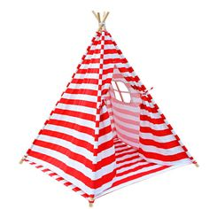 TeePee Tent Red Stripe 4 Poles with Storage Bag