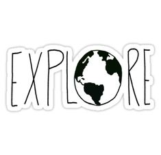 """Explore the Globe III"" Stickers by Leah Flores Stickers Cool, Tumblr Stickers, Phone Stickers, Printable Stickers, Proyectos Cricut Explore, Black And White Stickers, Aesthetic Stickers, Sticker Design, Vsco"