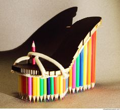 Shoe for illustrators, 2015. Material: crayons, HDF and rope. © Sylwia Gowin