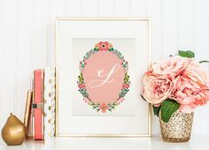 Nursery Monogram Letter L Wall Art Letter L by WhitespaceAndDaisy