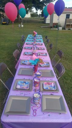 Shimmer and shine birthday party kid table
