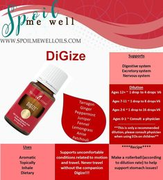 DiGize Essential Oil, Young Living essential oil, stomach relief, dilution ratios